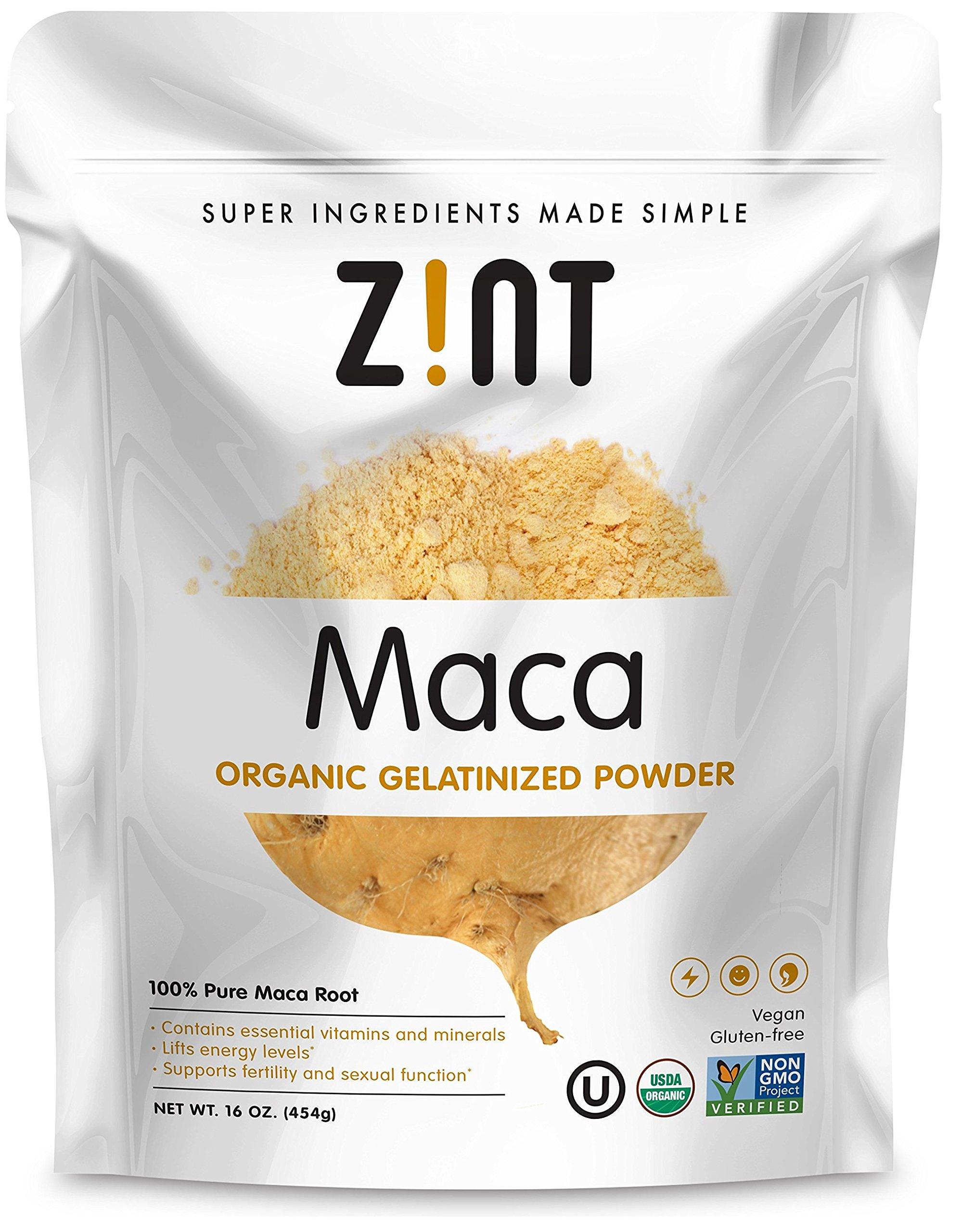 Zint Organic Maca Powder: Gelatinized, Non GMO, Yellow Maca Root - Adaptogen Superfood (16 Ounce)