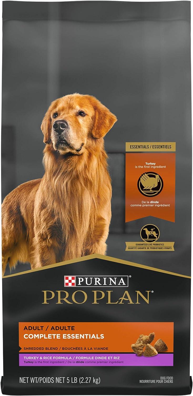 Purina Pro Plan High Protein Dog Food with Probiotics for Dogs, Shredded Blend Turkey & Rice Formula - 5 lb. Bag
