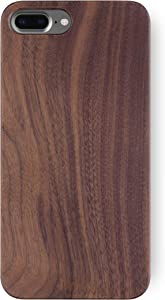 """iATO iPhone 8 Plus Wood Case. Real Walnut iPhone 8 Plus Case Wood. Minimalistic Classic Dark Wood Case iPhone 8 Plus 5.5"""" Supports Wireless Charging – Natural Wooden Overlay & Black Polycarbonate"""