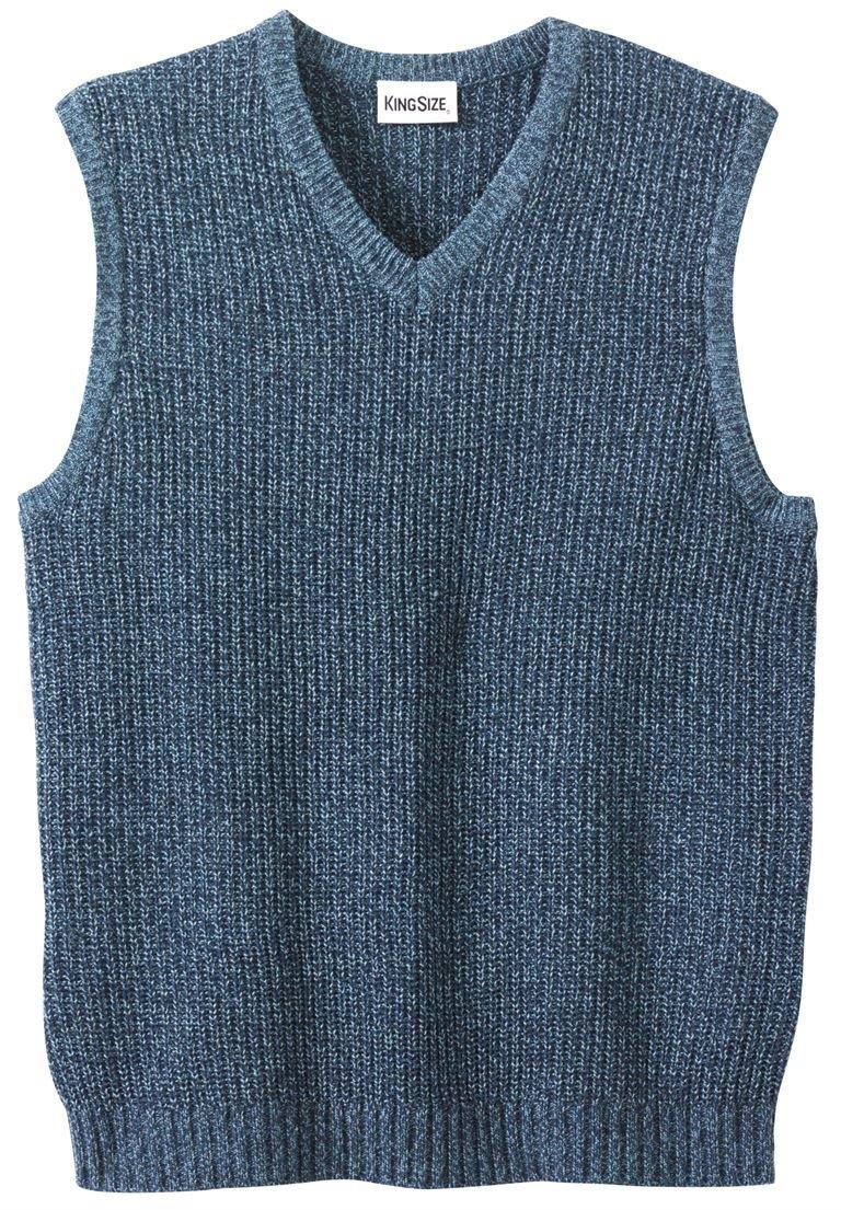 KingSize Men's Big & Tall Shaker Knit V-Neck Sweater Vest, Navy Marl Tall-6Xl