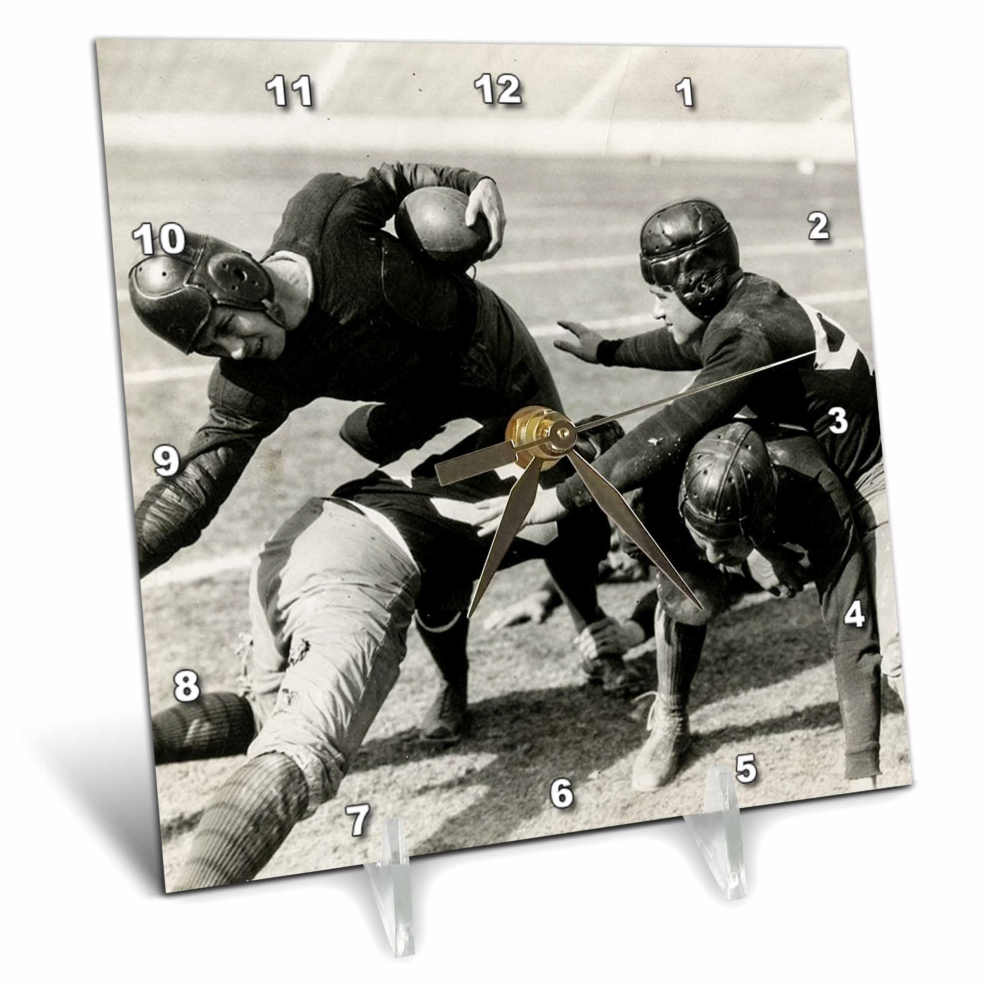 3dRose Scenes from the Past Vintage Stereoview Cards - 1928 Stereoview Image Hold Em College Football Silent Film Still - 6x6 Desk Clock (dc_269974_1)