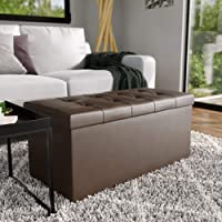 Everlane Home Rectangle Foldable Storage Ottoman with Buttonless Square Tufting, faux brown