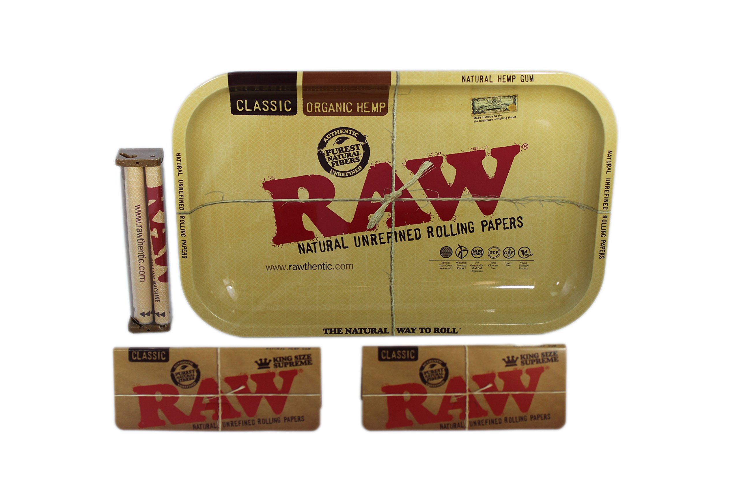 Raw Rolling Tray Small Bundle with Raw 110mm Roller and Raw King Size Supreme Rolling Papers