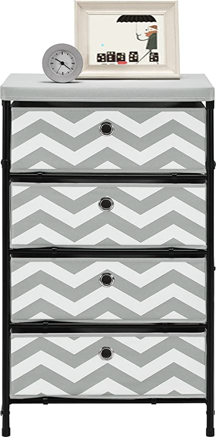 Altra Furniture 4 Bin Kids Storage System With Gray And White Chevron  Pattern