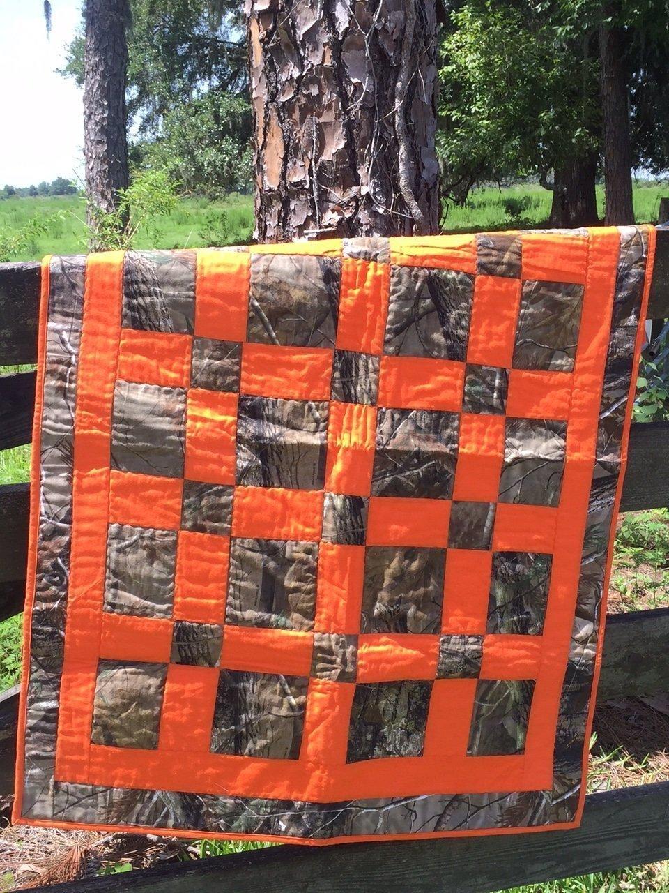 "Nursery Bedding Real Tree Camo & Orange Hand Made Baby Quilt 36"" x 50"" Baby Room Decor Crib Blanket"