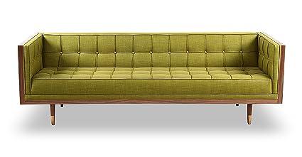 Kardiel Woodrow Mid Century Modern Box Sofa, Atomic Moss Twill/Walnut