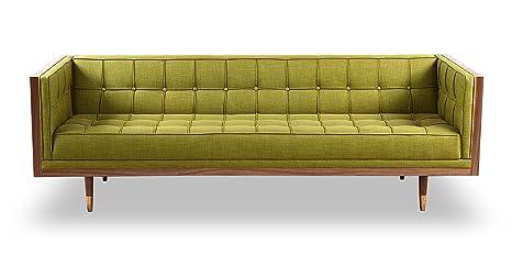 Kardiel Woodrow Mid-Century Modern Box Sofa, Atomic Moss Twill/Walnut