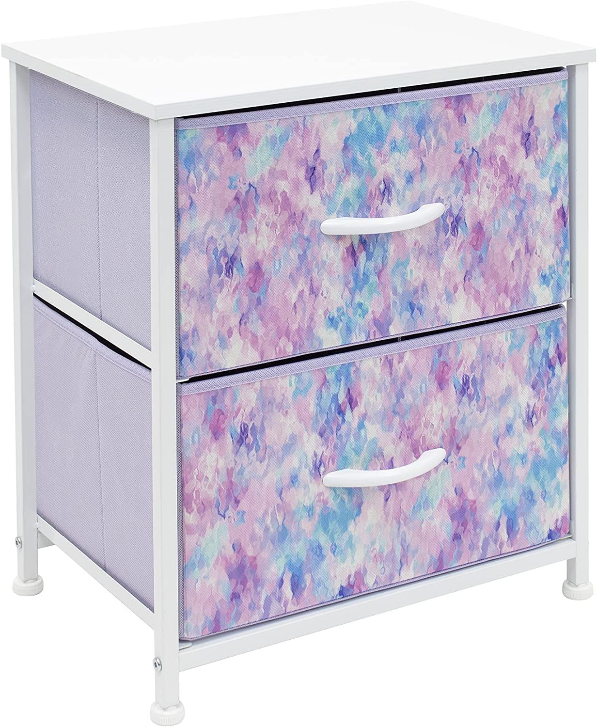 Sorbus Nightstand with 2 Drawers - Bedside Furniture & Accent End Table Chest for Home, Bedroom, Office, College Dorm, Steel Frame, Wood Top, Easy Pull Fabric Bins (2-Drawer, Blue/Pink/Purple)