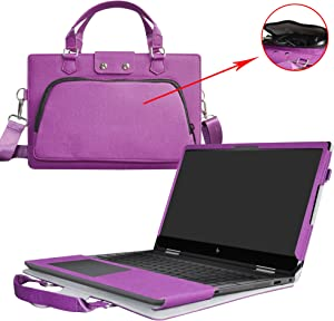 """Envy x360 15 Case,2 in 1 Accurately Designed Protective PU Leather Cover + Portable Carrying Bag for 15.6"""" HP Envy x360 15 15m-bp000 15m-bq000 Series Laptop(Not Fit 15-w000/15-aq000/15-ar000),Purple"""