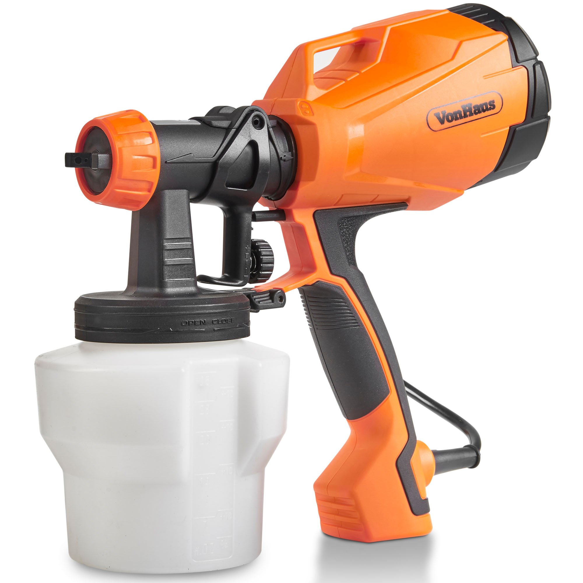 VonHaus Electric HVLP Spray Gun Paint Sprayer with 3 Adjustable Spray Patterns and Flow Control Ideal for Painting Fences, Ceilings, Walls and Floor