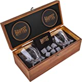 Whiskey Glass Gift Set of 2 - Whisky Rocks Chilling Stones & 2 Bourbon Glasses - Perfect Gifts For Men - Large 10oz Premium Lead-Free Crystal Whiskey Glass And Stone Set - Glassware in Wooden Gift Box