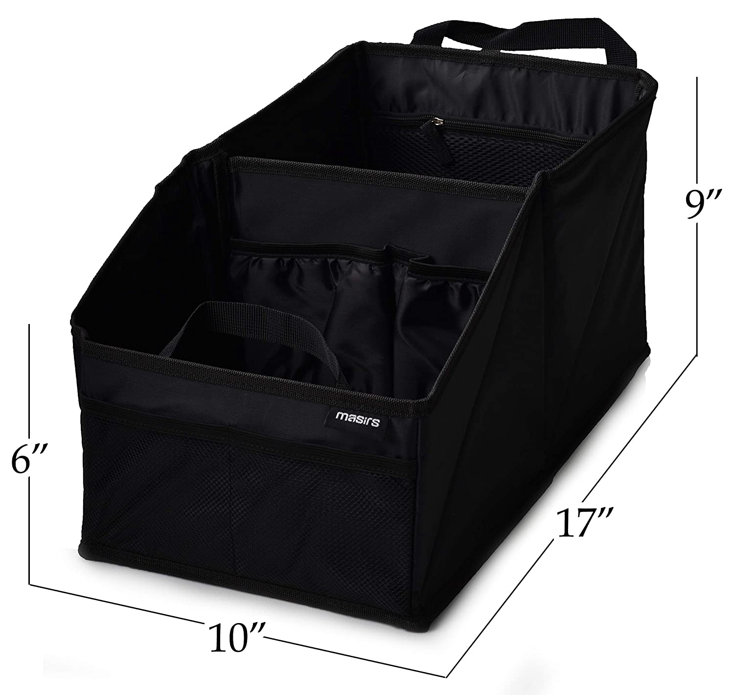 Plenty of Space to Neatly Store and Organize Your Kids Books Games and Snacks While Traveling A Must for Long Road Trips Toys Masirs 5471 Folds Flat for Easy Trunk Storage Back Seat Car Organizer