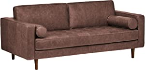 "Amazon Brand – Rivet Aiden Mid-Century Leather Sofa with Tapered Wood Legs, 74""W, Dark Brown"