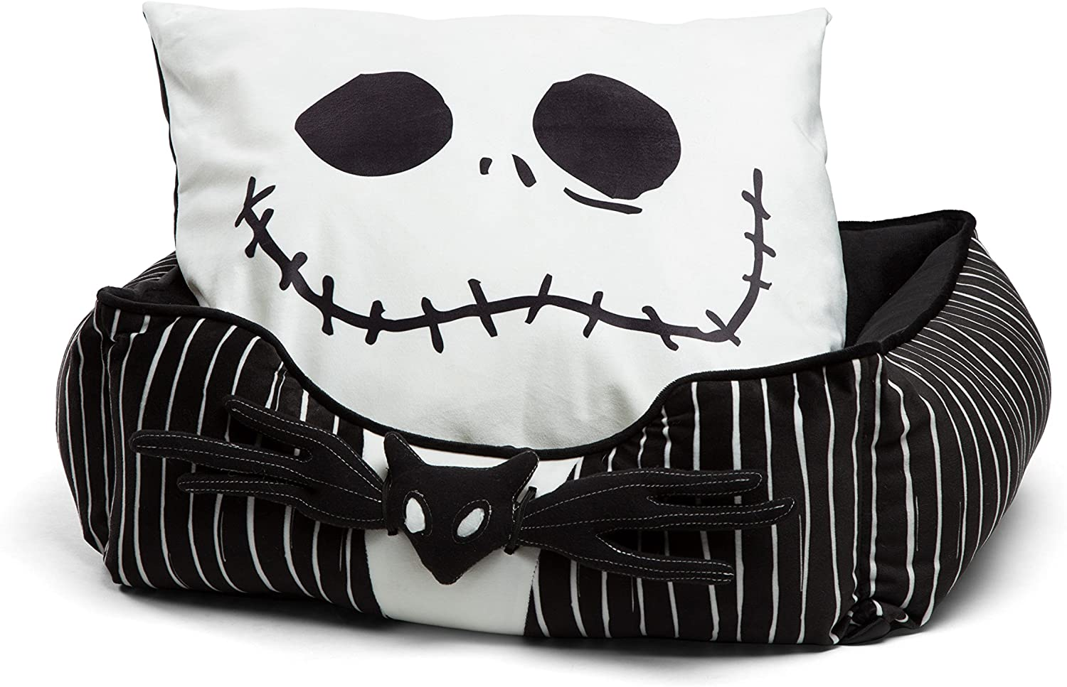 Nightmare Before Christmas Jack Skellington Bolstered Corded Cuddler Dog Cat Bed with Removable Toy Bat, Machine Washable