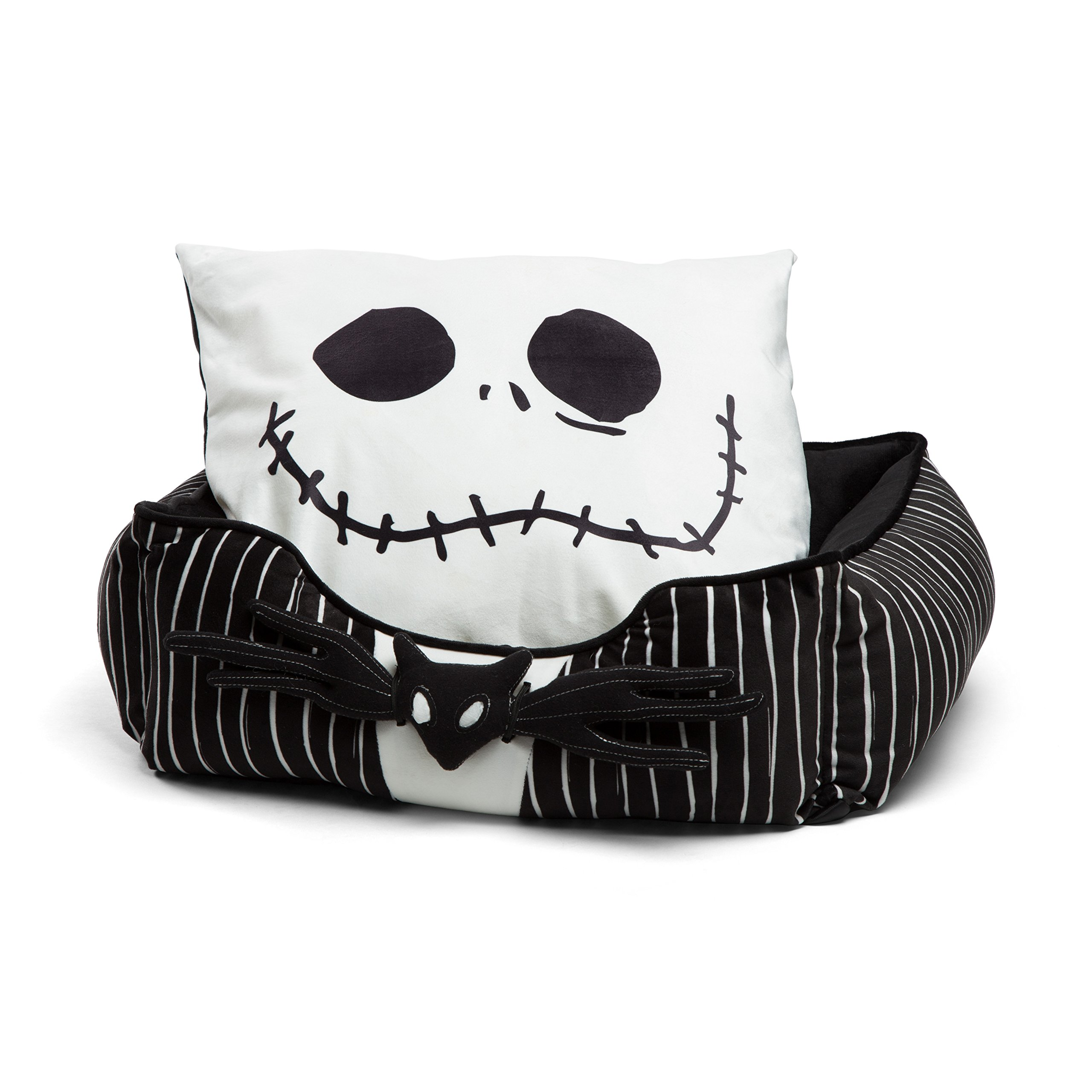 DisneyDisney Nightmare Before Christmas Jack Skellington Bolstered Corded Rectangular Cuddler Dog Bed/Cat Bed with Removable Toy bat 21''x19''x8'' by Disney