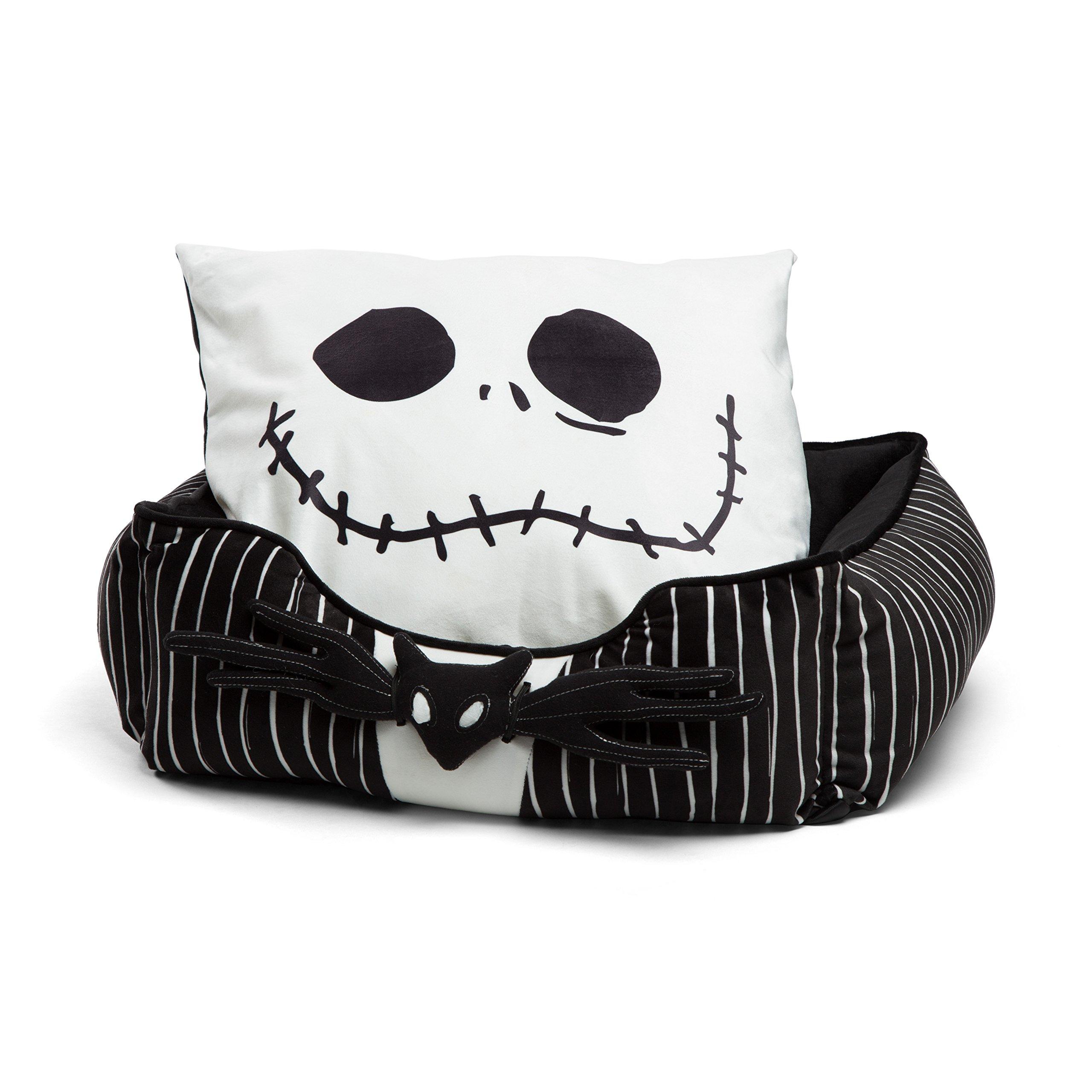 DisneyDisney Nightmare Before Christmas Jack Skellington Bolstered Corded Rectangular Cuddler Dog Bed/Cat Bed with Removable Toy bat 21''x19''x8''