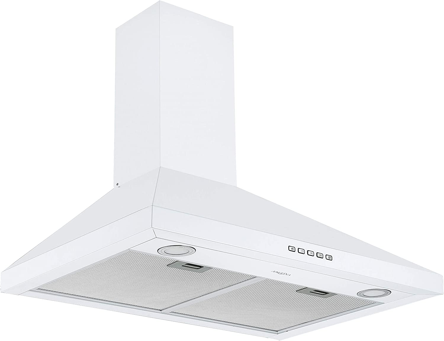 Ancona AN-1546 30 in. Convertible Wall-Mounted Pyramid Range Hood in White