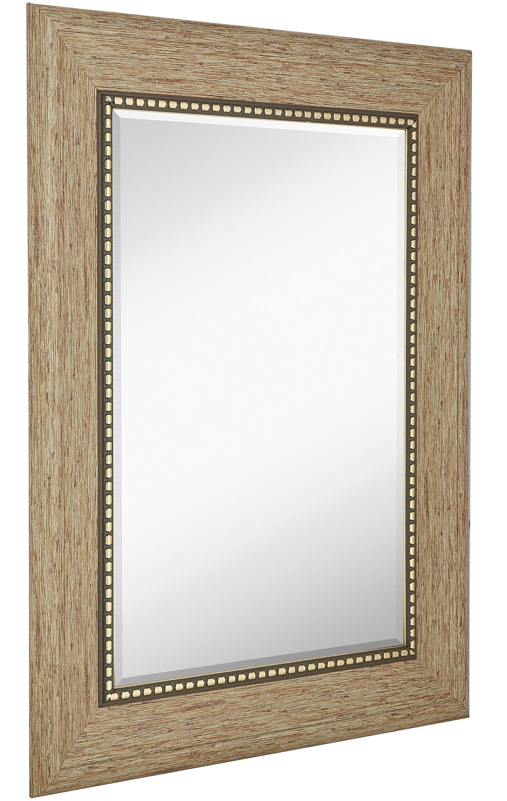 Wide Transitional Framed Mirror  | 1'' Beveled Silver Backed Glass | Vanity, Bedroom, or Bathroom | Mirrored Rectangle Hangs Horizontal or Vertical Thick Frame | 30'' x 40'' Inches Style B