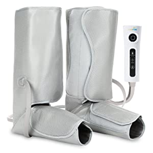LiveFine Air Compression Leg Wraps - Electric Foot & Calf Massage Wraps with Handheld Controller – 2 Modes & 3 Intensities Relieve Fatigue & Improve Blood Flow Circulation