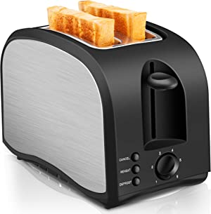 2 Slice Toaster CUSINAID Black Wide Slot Toaster 2 Slice Best Rated Prime with Pop Up Reheat Defrost Functions, 6-Shade Control, Removable Crumb Tray