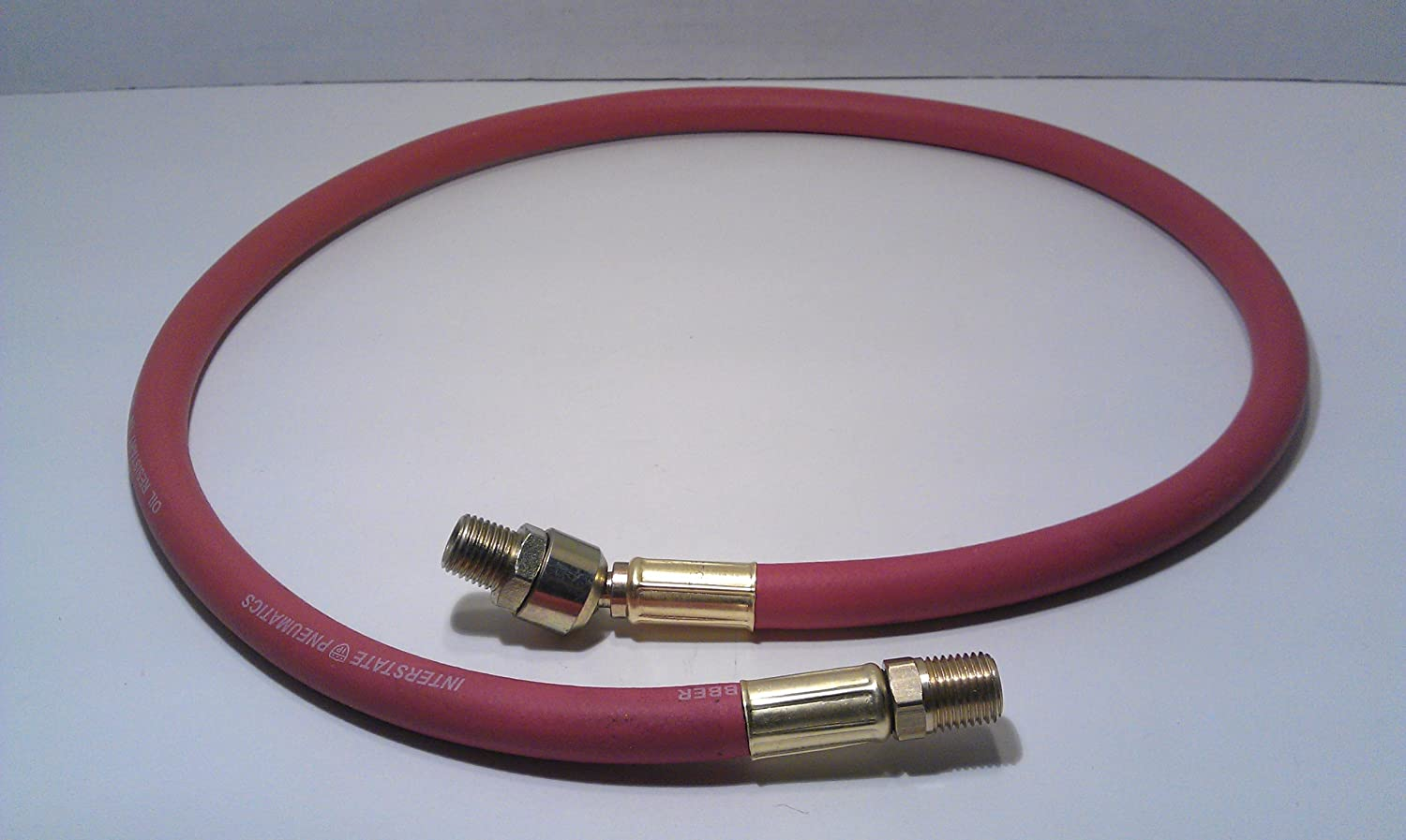 Red Rubber Hose Whip 3 Long 1//4 I.D with 1//4 Male Ball Swivel