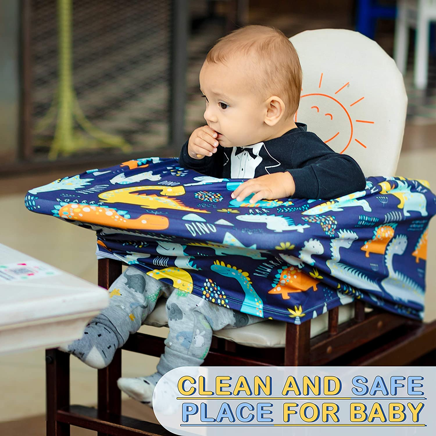 High Chair Stroller and Carseat Covers for Boys and Girls-Infinity Stretchy Shawl Shopping Cart Multi Use Nursing Breastfeeding Cover Scarf Car Seat Canopy by Busy Monkey Baby Shower-Dinosaurs