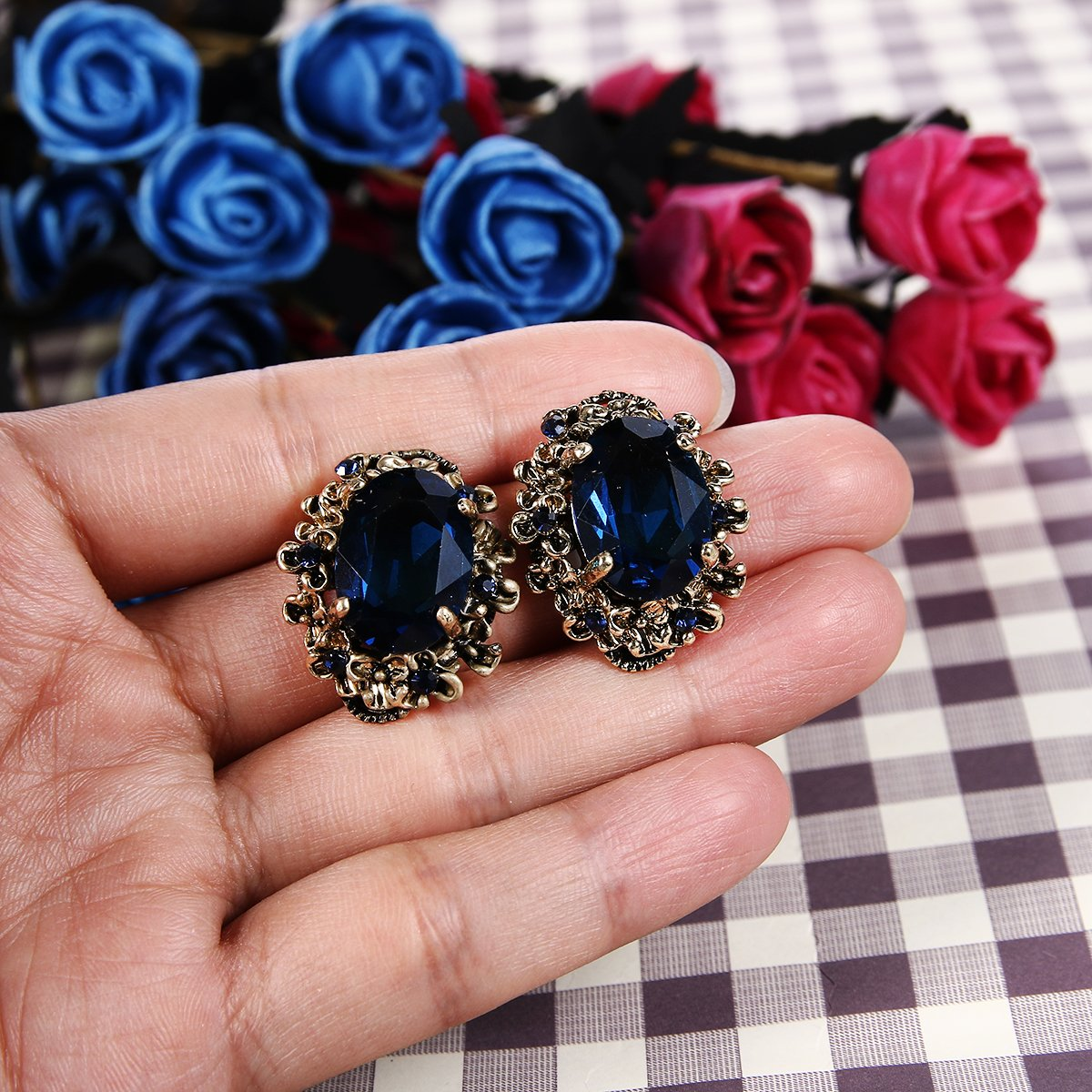 BriLove Antique-Gold-Toned Stud Earrings Women's Victorian Style Crystal Floral Scroll Cameo Inspired Oval Earrings Sapphire Color by BriLove (Image #4)