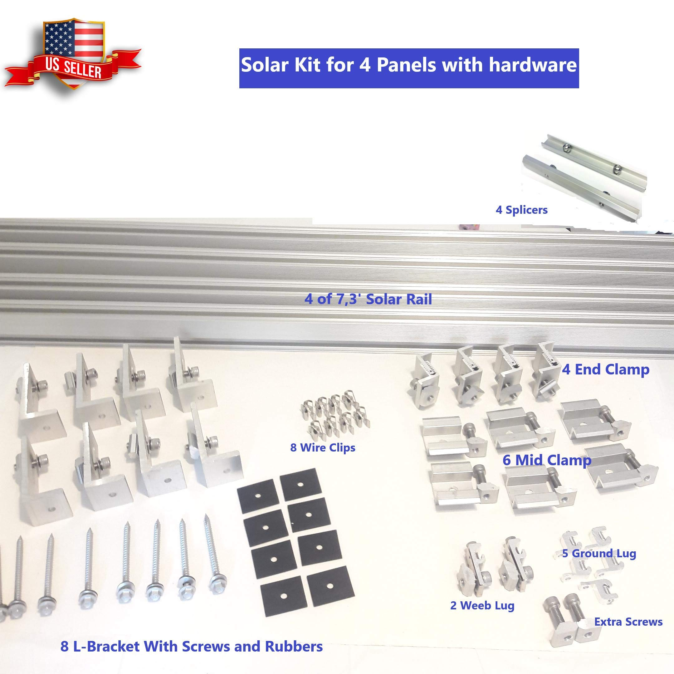 Uisolar Solar Panel Mounting Kit 7.3 ft Rails for 4 Full Size Panels up to 350W