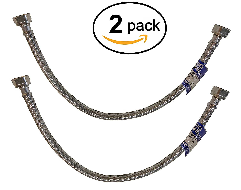 "Eastman 20"" Steel Flex Long Faucet Connectors (2) Pack (1/2"" FIP x 1/2"" FIP)"