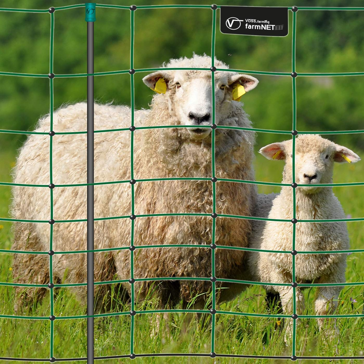 Filet électrifiable de clôture pour moutons, chèvres VOSS.farming farmNET, 50 m, hauteur 108 cm, 14 piquets, 2 pointes, vert