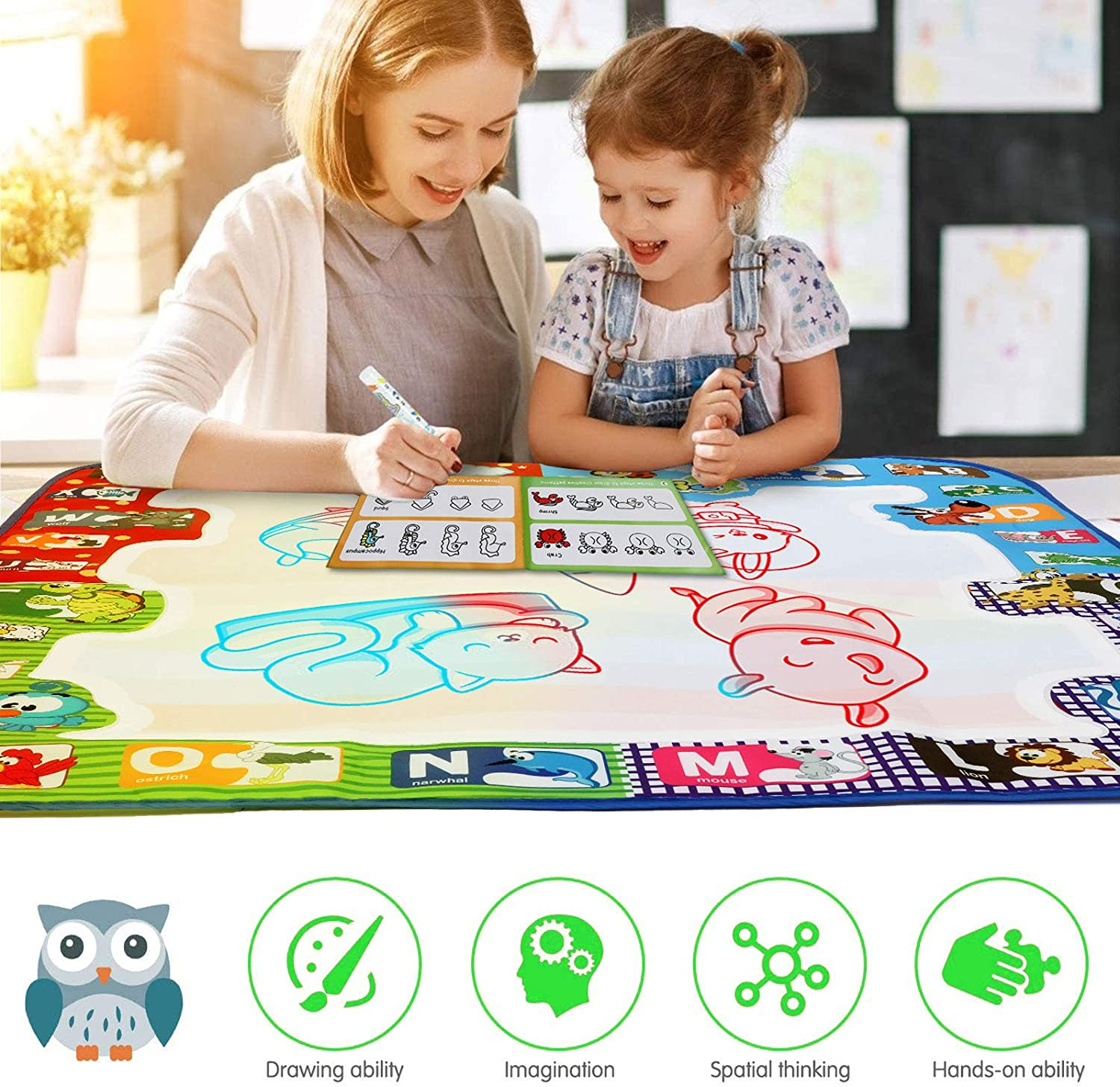 for Age 3 4 5 6 7 8 9 10 11 12 Years Old Girls Boys Age Gift Kids Painting Writing Toys QDH Water Doodle Mat 31x31 inches Color Aqua Magic Drawing Mat with 2 Mini Mats