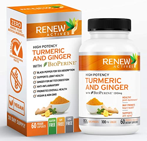 Ginger Turmeric Curcumin Supplement Capsules Organic All Natural Antioxidant Supplements with Bioperine Black Pepper