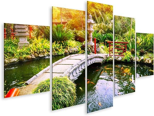 Cuadros de Salon Jardín japonés con Peces koi Nadando en el Estanque. Fondo de la Naturaleza Cuadro Decoracion de Pared Impresión en Lienzo Formato Grande Modernos Pig-MFP-N: Amazon.es: Hogar
