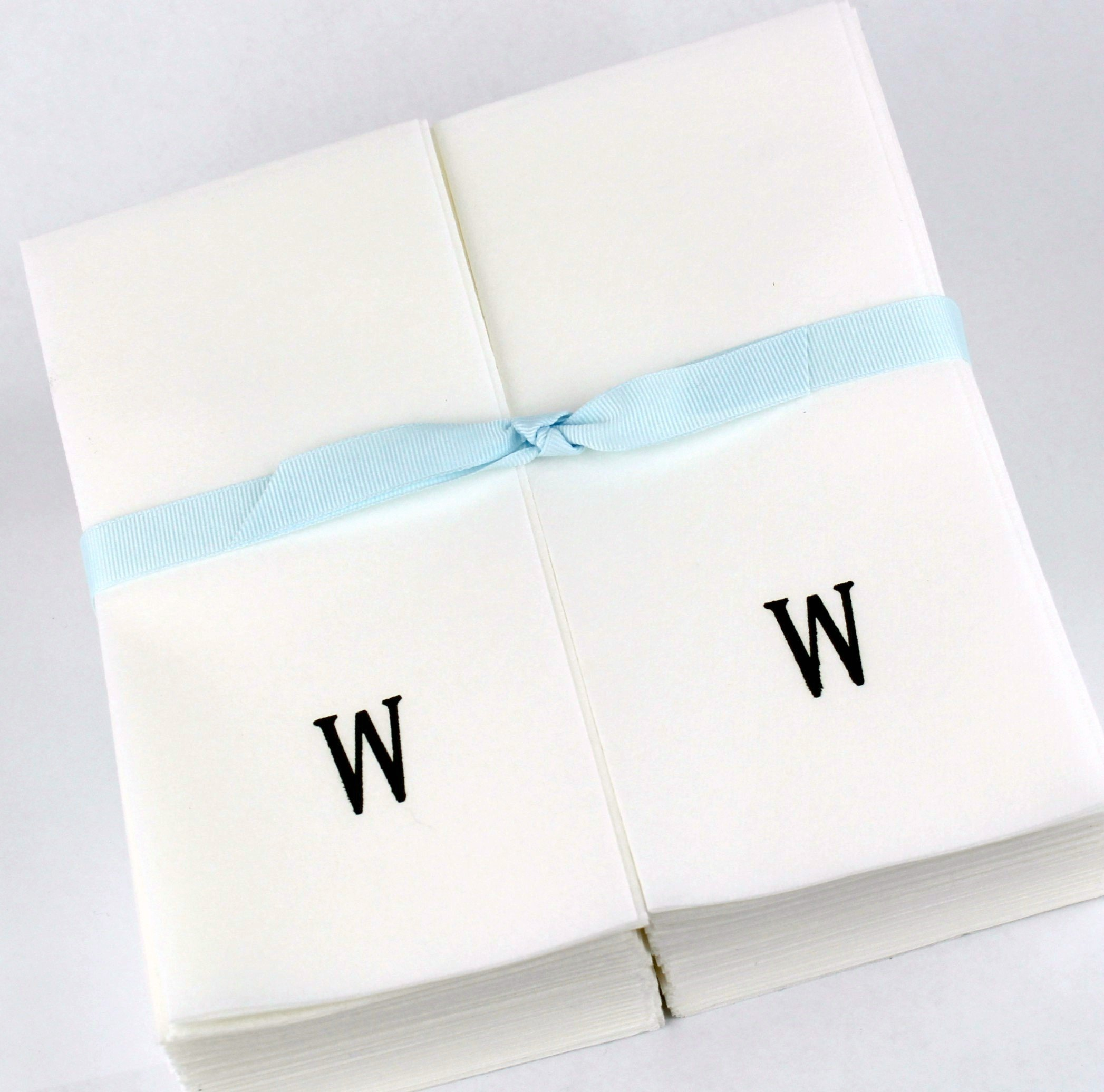 Disposable Nature's Linen Guest Hand Towels with a Ribbon - Personalized with a Black Single Block Initial - W - 100ct.