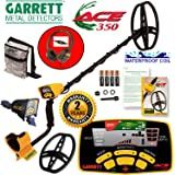 """Garrett Ace 350 Metal Detector Discovery Pack with 8.5x11"""" DD Search Coil, Camo Pouch, Coil Cover, Rain Guard, Headphones"""
