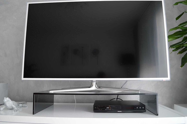 Glas TV Aufsatz Ponte in Schwarzglas 58,65,80,100 cm Rauchglas Grauglas Bruecke Niedrigboard