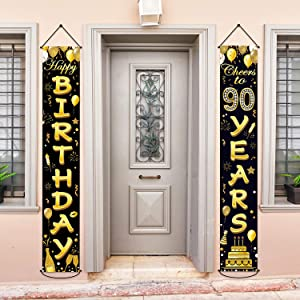 90th Birthday Party Banner Decorations Cheers to 30 Years Banner 30th Party Supplies Black Gold Welcome Porch Sign for Indoor Outdoor(90 Years Birthday)