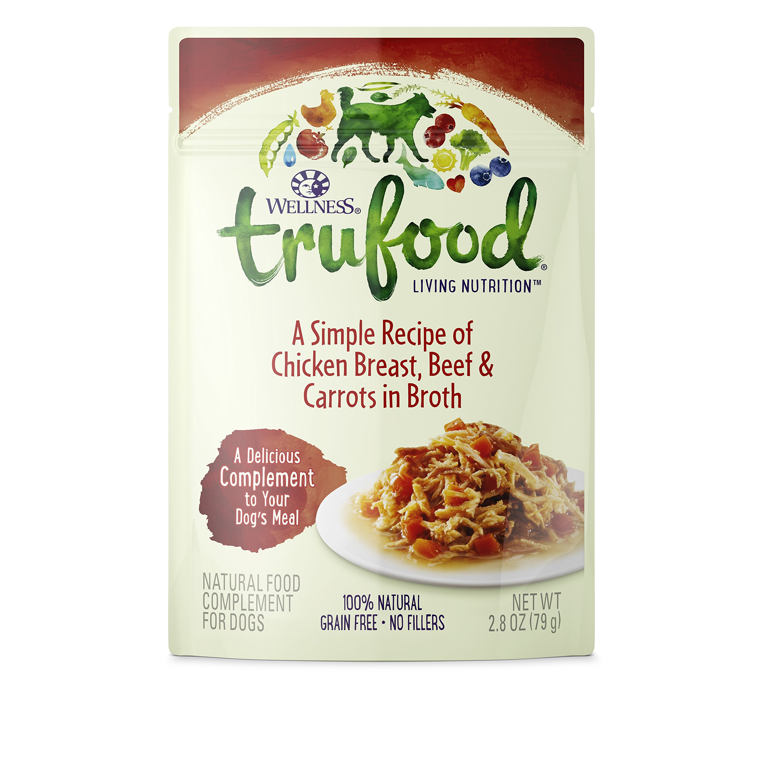 Wellness TruFood Complements Natural Grain Free Wet Raw Dog Food, Chicken, Beef & Carrots, 2.8-Ounce Pouch (Pack of 24)