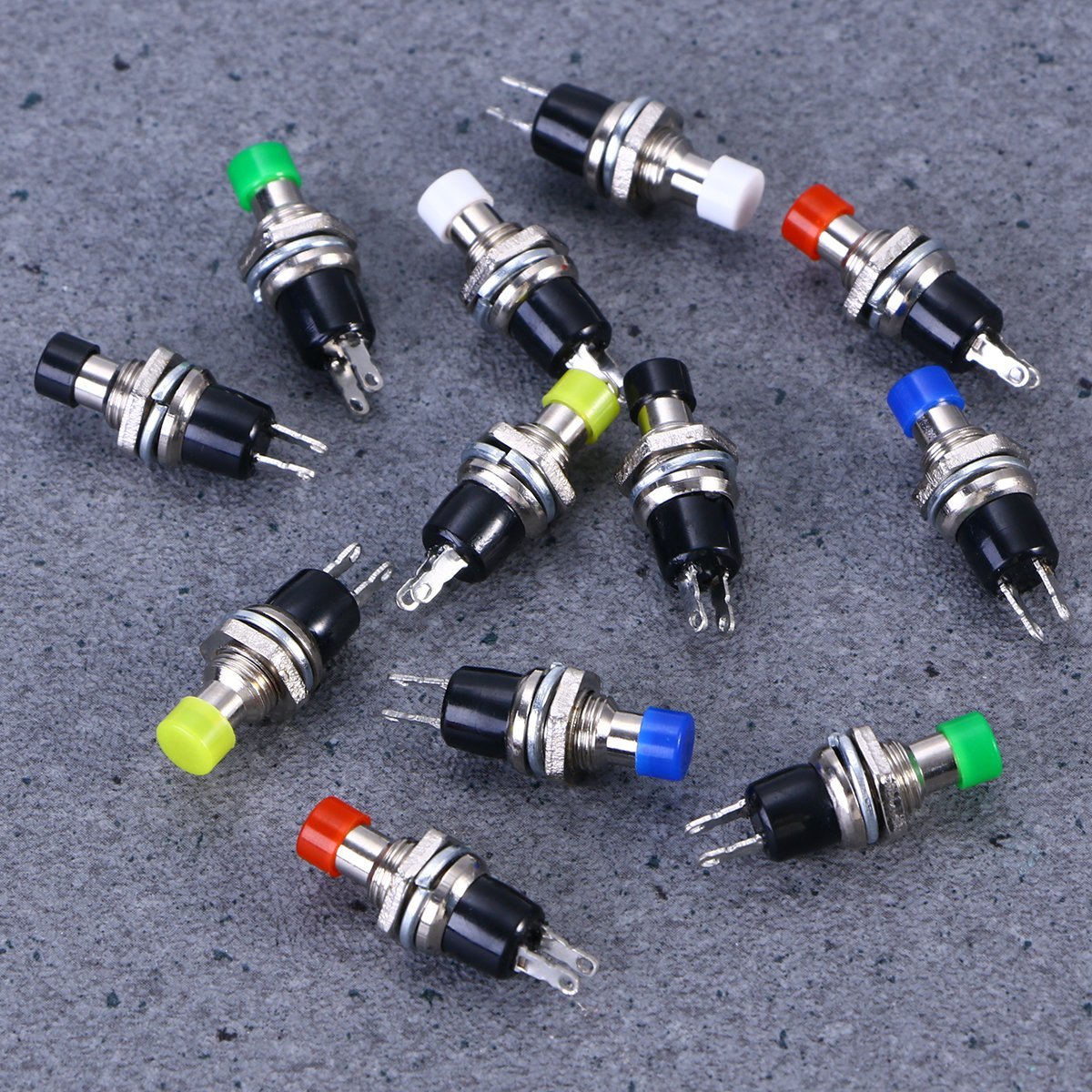 UEETEK 12Pcs 7MM Mounting Hole 1A 250V AC 2 Pins OFF//ON Thread SPST Momentary Latching Mini Push Button Switch Red, Green, Yellow, Blue, White, Black