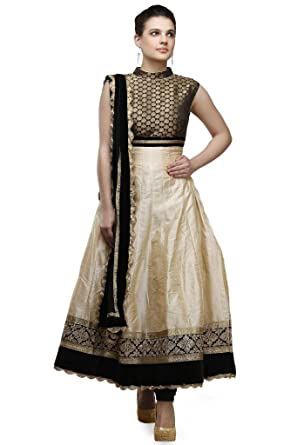 fe90fa36ae Image Unavailable. Image not available for. Colour: Pret A Porter Gold/Black  Indian Anarkali Suit