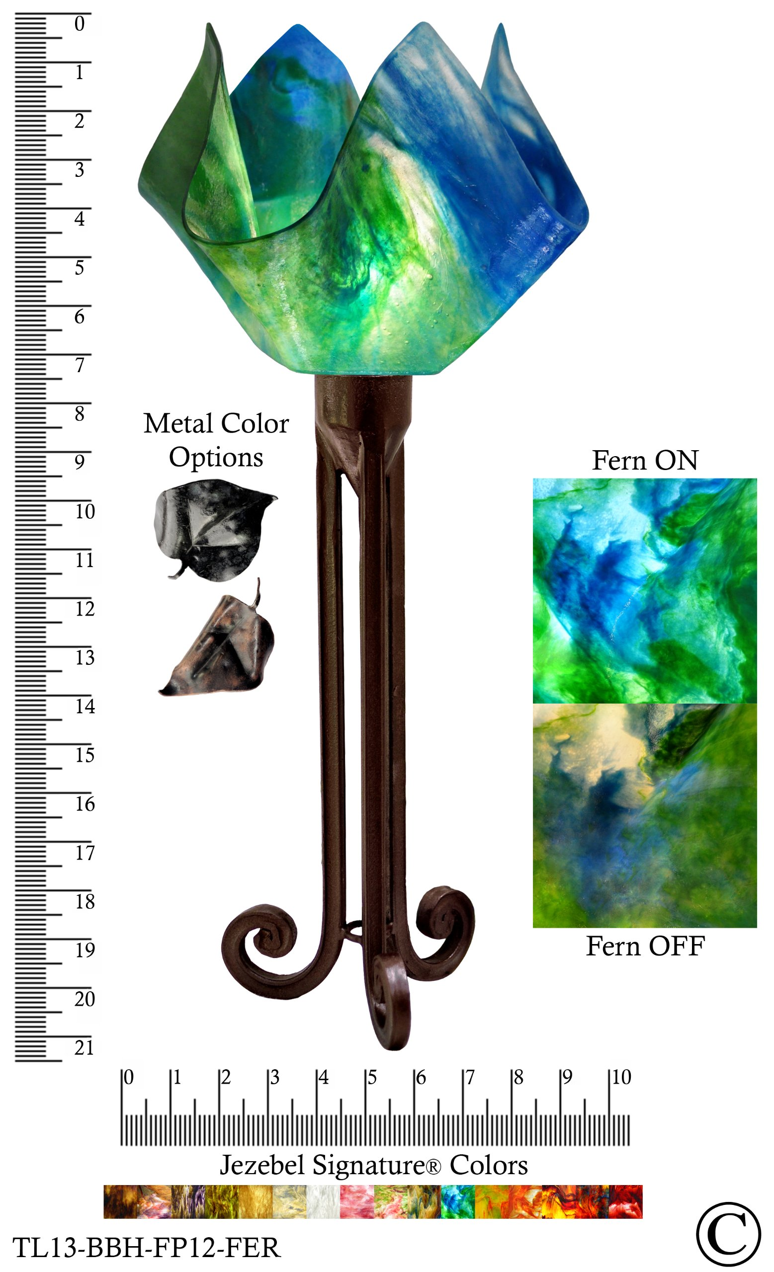 Jezebel Signature® Torch Light. Hardware: Brown with Brown Highlights. Glass: Fern, Flame Style