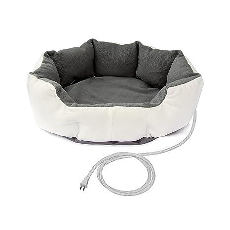 Amazon.com: Aleko phbed17s White Gray climatizada Pet cama ...