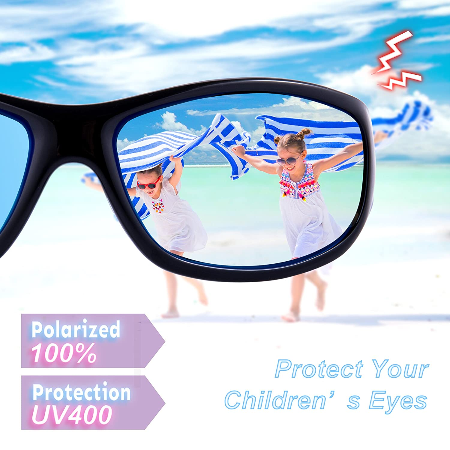 87f0a16fb91 Amazon.com  RIVBOS Rubber Kids Polarized Sunglasses With Strap Glasses  shades for Boys Girls Baby and Children Age 3-10 RBK037 (Black Black