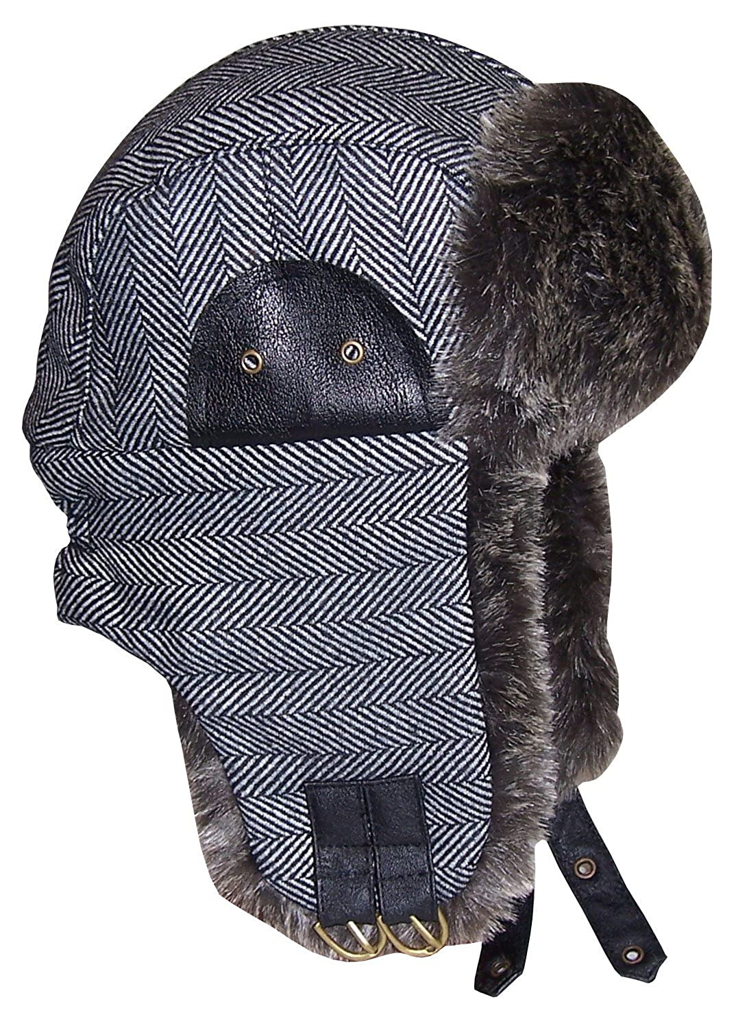 N'Ice Caps Big and Little Boys Tweed Trapper Winter Hat with Faux Fur Lining