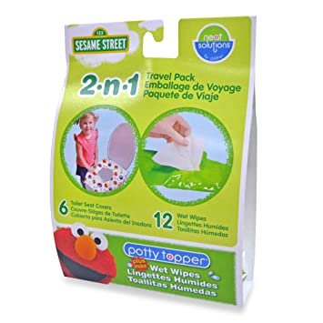 Sesame Street Potty Combo Pack - 6 Count Potty Topper & 12 Count Wipes