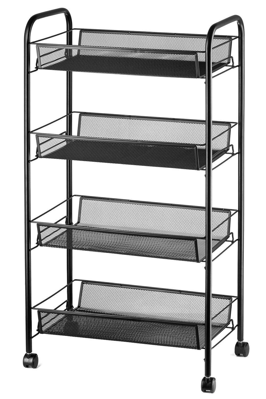 Halter 4-Tier Rolling Basket Stand, Full Metal Rolling Trolley for Kitchen & Bathroom - Four Tier Storage Cart w/Shelves & Wheels - 33'' X 17.25'' - Black