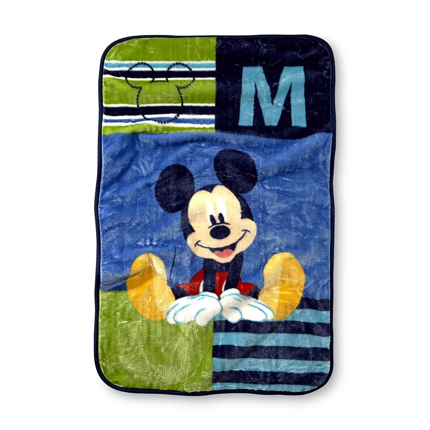 Disney Mickey Mouse Luxury Plush Throw Baby Blanket, Navy/Lime/Red/Yellow Crown Crafts Inc 5091225