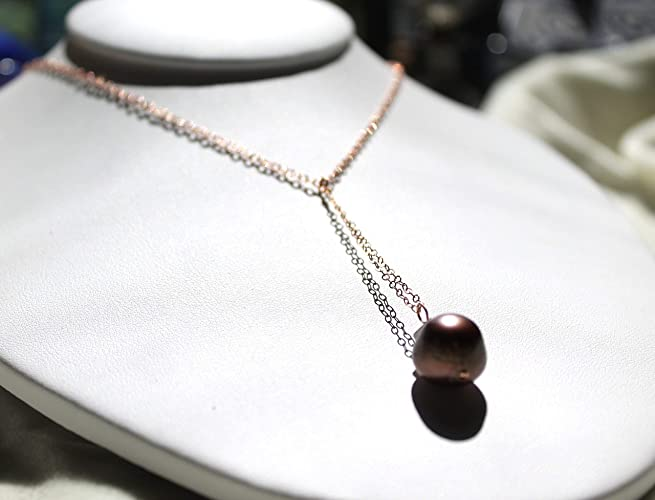 b67eb2fbe Image Unavailable. Image not available for. Color: Tahitian pearl necklace  with rose gold filled cable chain ...