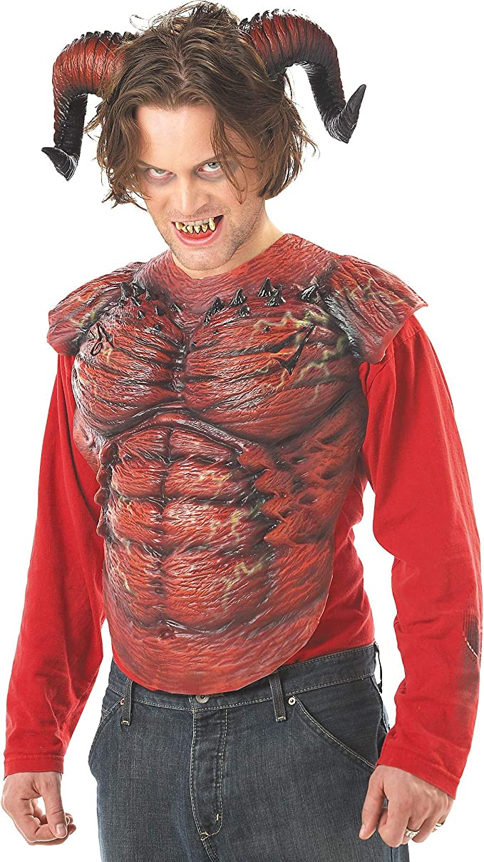 Amazon Com California Costumes Men S Demon Horns W Teeth Red One Size Costume Accessory Clothing