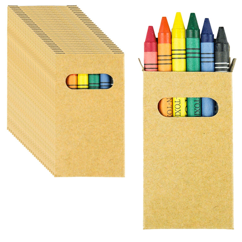 Partituki 30 Set di Pastelli a Cera Coloranti. Ognuno con 6 pPastelli. Regalo Ideale per Piñata o per gli Ospiti delle Feste di Compleanno per Bambini